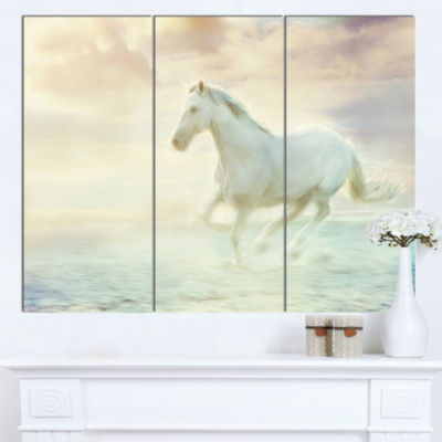 Designart Fantasy White Horse Animal Canvas Art Print - 3 Panels