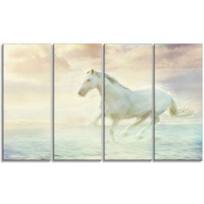 Designart Fantasy White Horse Animal Canvas Art Print - 4 Panels