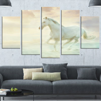 Design Art Fantasy White Horse Animal Canvas Art Print - 5 Panels
