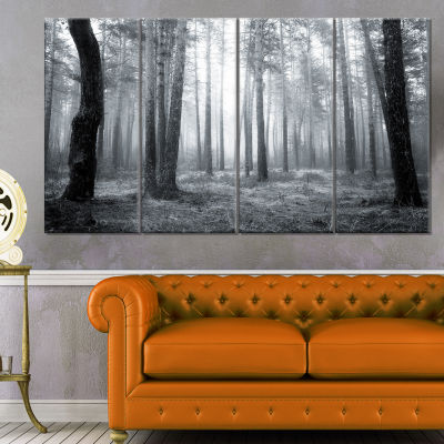 Designart Black And White Foggy Forest Canvas ArtPrint - 4 Panels