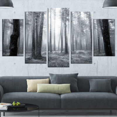 Design Art Black And White Foggy Forest Canvas Art Print - 5 Panels