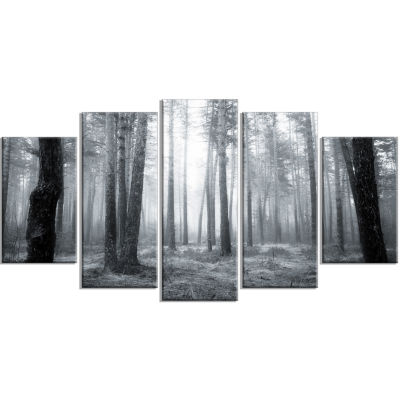 Designart Black And White Foggy Forest Canvas ArtPrint - 5 Panels