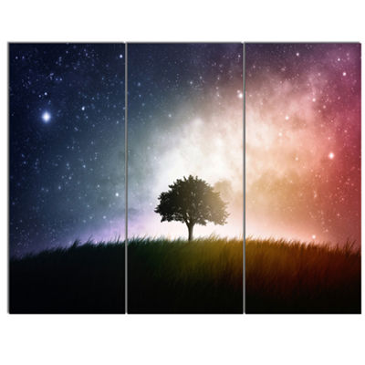 Designart Single Tree Space Background Trees Canvas Art Print - 3 Panels