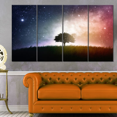 Designart Single Tree Space Background Trees Canvas Art Print - 4 Panels