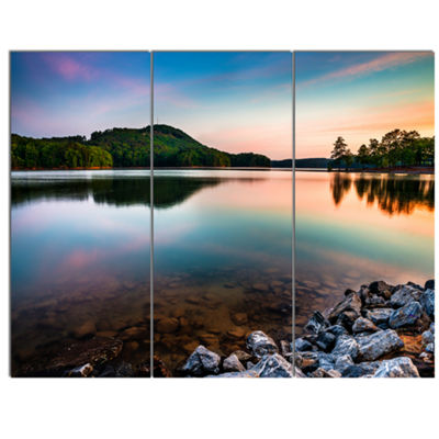 Designart Lake Allatoona At Red Top Mountain Seashore Canvas Art Print - 3 Panels