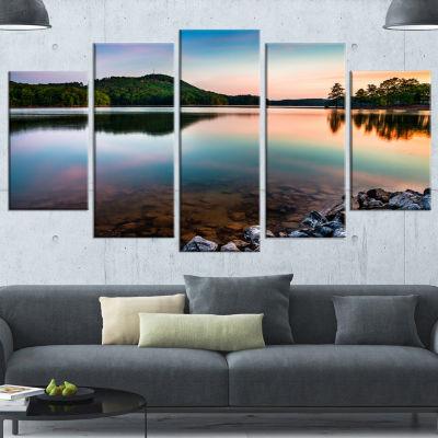 Design Art Lake Allatoona At Red Top Mountain Seashore Canvas Art Print - 5 Panels