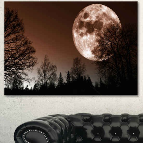 Designart Red Moon Rise Over Dark Trees LandscapeCanvas Art Print