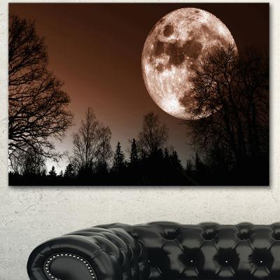 Designart Red Moon Rise Over Dark Trees Landscape Canvas Art Print