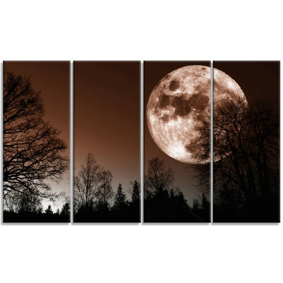 Designart Red Moon Rise Over Dark Trees Landscape Canvas Art Print - 4 Panels
