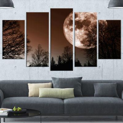 Designart Red Moon Rise Over Dark Trees LandscapeCanvas Art Print - 5 Panels