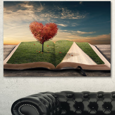 Designart Amazing Heart Tree And Book Abstract Canvas Artwork