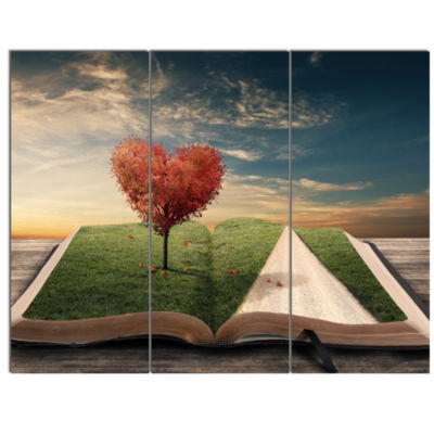 Designart Amazing Heart Tree And Book Abstract Canvas Artwork - 3 Panels