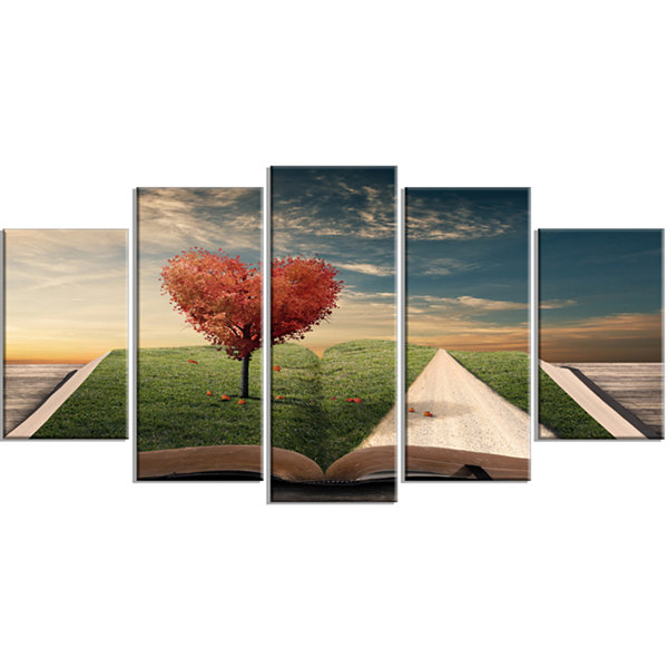 Designart Amazing Heart Tree And Book Green Abstract Canvas Artwork - 5 Panels