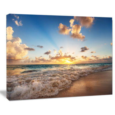 Designart Sunrise On Beach Of Caribbean Sea Canvas Art Print