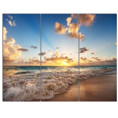 Design Art Sunrise On Beach Of Caribbean Sea Canvas Art Print - 3 Panels