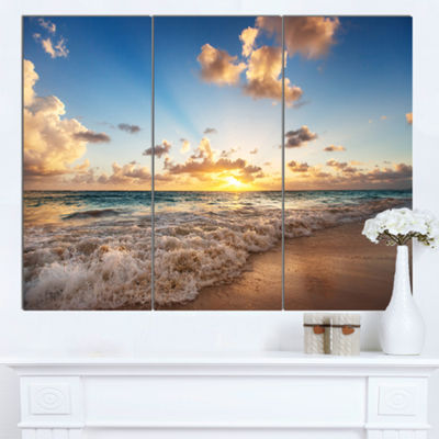 Designart Sunrise On Beach Of Caribbean Sea CanvasArt Print - 3 Panels