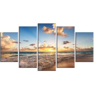 Design Art Sunrise On Beach Of Caribbean Sea Canvas Art Print - 5 Panels