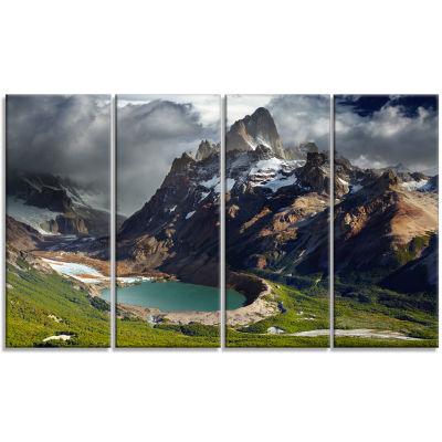 Designart Mount Fitz Roy Patagonia Argentina Landscape Canvas Art Print - 4 Panels