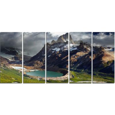 Designart Mount Fitz Roy Patagonia Argentina Landscape Canvas Art Print - 5 Panels