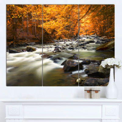 Designart Autumn Terrai With Trees And River Landscape Canvas Art Print - 3 Panels