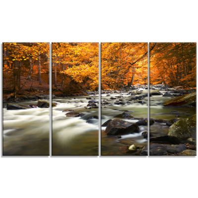 Designart Autumn Terrai With Trees And River Landscape Canvas Art Print - 4 Panels