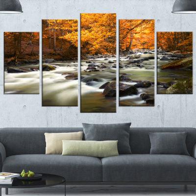 Designart Autumn Terrai With Trees And River Landscape Canvas Art Print - 5 Panels