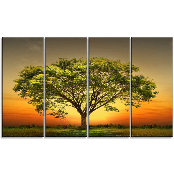 Design Art Green Tree Against Setting Sun Trees Canvas Art Print - 4 Panels