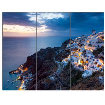 Designart Night Shot Oia Santorini Greece SeashoreCanvas Art Print - 3 Panels