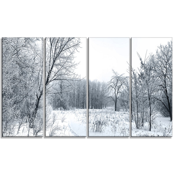 Designart Beautiful Winter Panorama Landscape Canvas Art Print - 4 Panels