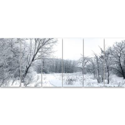 Designart Beautiful Winter Panorama Landscape Canvas Art Print - 6 Panels