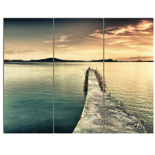 Designart Sea Bridge Into The Deep Ocean Bridge Canvas Art Print - 3 Panels