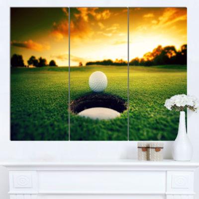 Designart Golf Ball Near Hole Landscape Canvas ArtPrint - 3 Panels