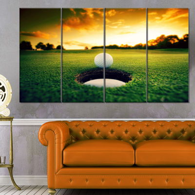 Designart Golf Ball Near Hole Landscape Canvas ArtPrint - 4 Panels