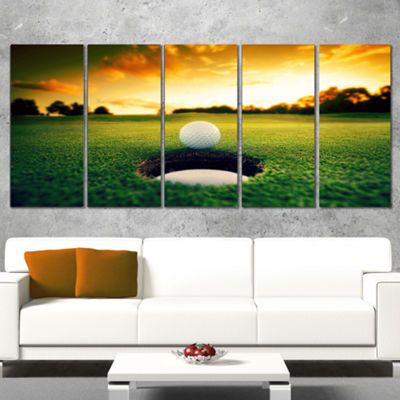Designart Golf Ball Near Hole Landscape Canvas ArtPrint - 5 Panels