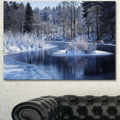 Designart Winter Lake In Deep Forest Landscape Canvas Art Print