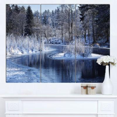 Designart Winter Lake In Deep Forest Landscape Canvas Art Print - 3 Panels