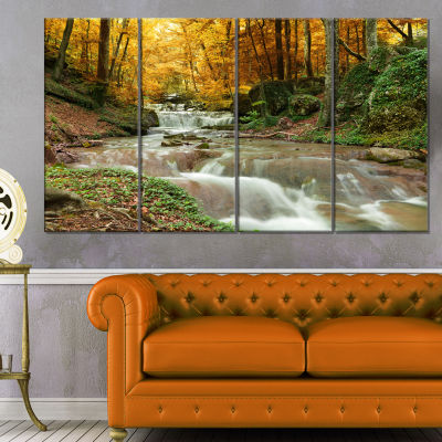 Designart Forest Waterfall With Yellow Trees Landscape Canvas Art Print - 4 Panels