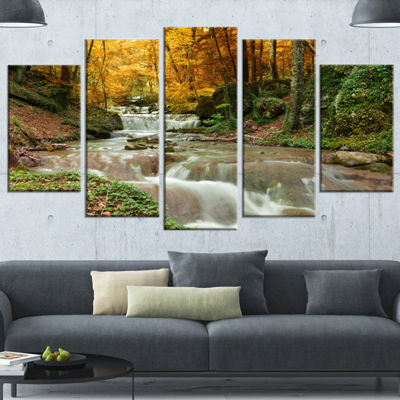 Design Art Forest Waterfall With Yellow Trees Landscape Canvas Art Print - 5 Panels