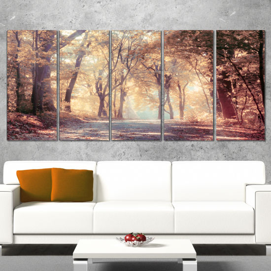 Designart Golden Autumn Beautiful Forest LandscapeCanvas Art Print - 5 Panels