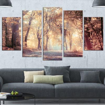 Designart Golden Autumn Beautiful Forest Landscape Canvas Art Print - 5 Panels