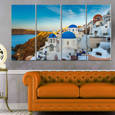 Designart Beautiful Santorin Houses Greece Cityscape Art Print On Canvas - 4 Panels