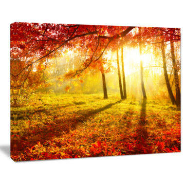 Design Art Yellow Red Fall Trees And Leaves Landscape Canvas Art Print