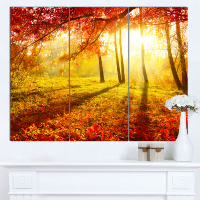 Design Art Yellow Red Fall Trees And Leaves Landscape Canvas Art Print - 3 Panels
