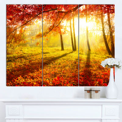Designart Yellow Red Fall Trees And Leaves Landscape Canvas Art Print - 3 Panels