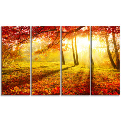 Designart Yellow Red Fall Trees And Leaves Landscape Canvas Art Print - 4 Panels