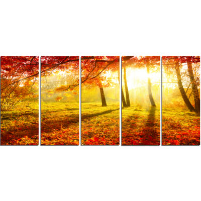 Designart Yellow Red Fall Trees And Leaves Landscape Canvas Art Print - 5 Panels