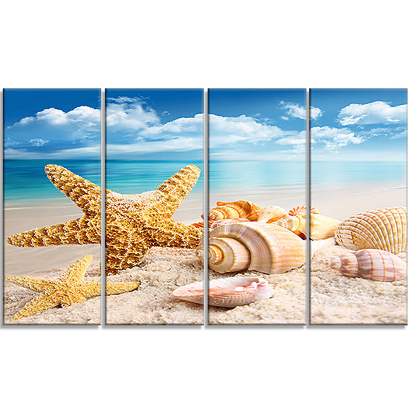 Designart Starfish And Seashells On Beach SeashorePhoto Canvas Art Print - 4 Panels