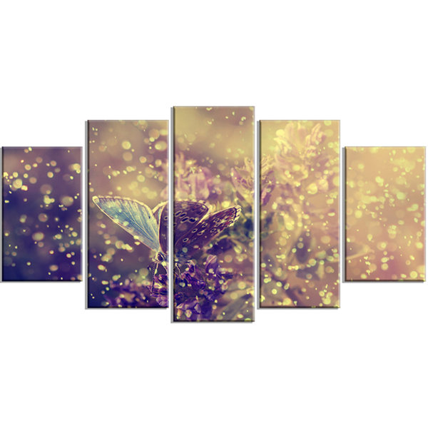 Design Art Blue Butterfly And Purple Flowers (373)Canvas Art Print - 5 Panels