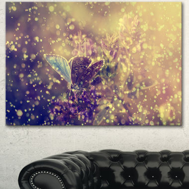 Designart Blue Butterfly And Purple Flowers Canvas Art Print
