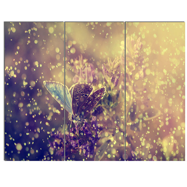 Design Art Blue Butterfly And Purple Flowers Canvas Art Print - 3 Panels